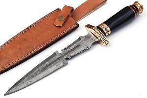 JS Custom Handmade Steel Knife Damascus Steel Hunting Knife Fixed Blade Knife
