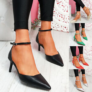 WOMENS LADIES ANKLE STRAP MID STILETTO HEELS POINTED TOE WOMEN SHOES SIZE
