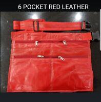 MARKET TRADER EXTRA SOFT 6 POCKET RED LEATHER MONEY  BAG