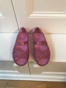 Croc Pink Sparkly Jelly Sandals US 10/UK 9