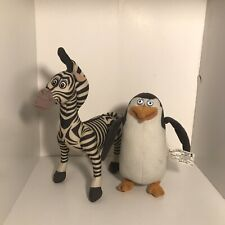"Authentic DreamWorks Madagascar 7"" Marty Zebra & 6"" Penguin Stuffed Plush"