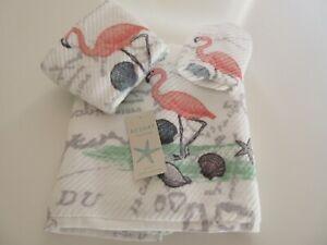 Resort Collection Nautical Print 100% Cotton Pink Flamingo 3 Piece Towel Set