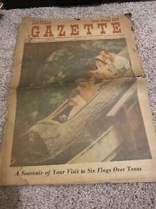 1966 Six Flags Over Texas vtg Newspaper Amusement Park Arlington