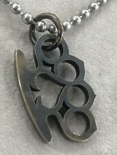 Steel Flame Royal Bronze Knuckle Duster Knuck Pendant & Dog Tag Necklace Chain