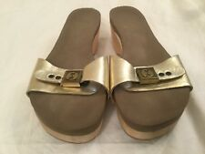 41b7ce21e759a Flogg Womens Slip On Clog Sandals Leather Gold Sz 8.5 Open Toe