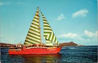 Ale Ale Kai V Catamaran Pearl Harbor Cruises Hawaii HI Postcard unused 1950s