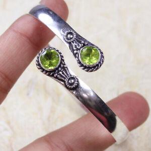 Peridot 925 Silver Plated Handmade Gemstone Bangle/Bracelet of Free Size Ethnic
