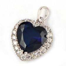 9K White Gold Filled Blue Heart of the Ocean Titanic Pendant Fit Chain Necklace