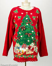 Ugly Christmas Sweater Vintage Ladies Red Cotton Blend Xmas Tree Design Medium