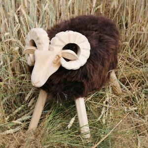 Lambskin Stool Paul Model 26 Seat Footrest Decoration Real Wood Sheepskin