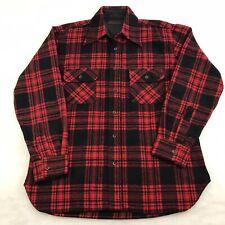 Vintage Red Black Plaid Wool Flannel Shirt Men's Size M 15-15.5 David Harrison