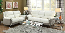 2 Pieces Living Room Metal Legs White Grey Bonded Leather Sofa Loveseat Set