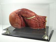 Boxing glove horizontal sports memorabilia display case black acrylic base UV