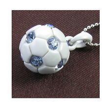 Soccer Ball Light Blue Crystal Rhinestones Sports Necklace Chain Charm Pendant