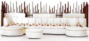"""170"""" W oversize sectional sofa Italian white leather waxed exotic wood masterful"""