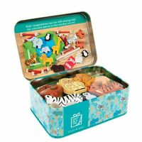 ZOO ANIMAL SET - Gift In A Tin -Wooden Farmyard Toys Kids Play Set Gift **NEW**