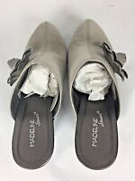 Madeline Stuart Women's Gray Clog Shoes Suede like with flower on sides Size 8