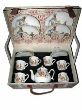 Reutter Children's Large Porcelain Tea Set for 4 in Hamper PETER RABBIT