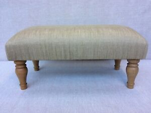 Footstool upholstered in Laura Ashley Edwin Gold