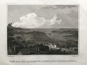 1805 Antique Print; Acapulco, Mexico after W.M. Craig