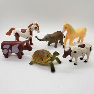 Plastic Farm Zoo Animal Toy Figure Mixed Lot of 6 - Horses Cows Elephant Turtle
