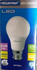 5X LED MEGAMAN 5.5W LED GLS BC BAYONET 470LUMENS 2800K WARM WHITE 143362 15K HRS