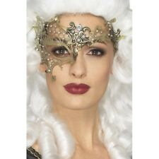 Gold Masquerade Half Eye Mask Filigree Metal Ladies Opera Fancy Dress