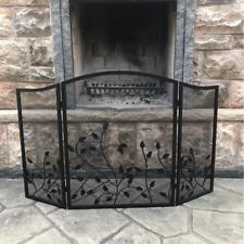 Heavy Duty Fireplace Screen 3-Panel Metal Folding Decor Durable Free Standing