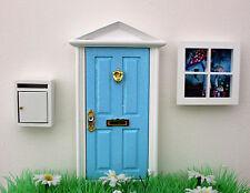 Opening blue elf door, miniature post box, elf window