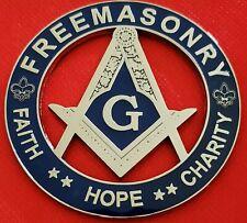 "Masonic Master Mason 3"" FAITH HOPE CHARITY Car Auto Emblem BLUE // SILVER"