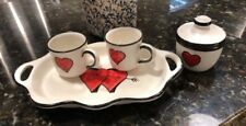 LE MADREPERLE DEMITASSE TRAY, 2 CUPS & SUGAR BOWL,VINTAGE 1970's, MADE IN ITALY!