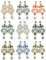 LONG DIAMANTE CHANDELIER EARRINGS DROP DANGLING BRIDE WEDDING PARTY COLOURS E02