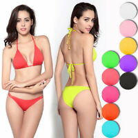 US Sexy Women's Three-Point Bikini Set Bandage Swimwear Solid Beach Bathing Suit