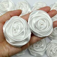 "Lot 12pc White Satin Ribbon Rose Flowers Craft DIY Wedding Bouquet 50mm / 2"""