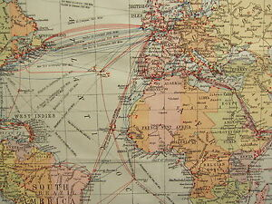 1919 LARGE MAP ~ THE WORLD TIME ZONES CABLES & WIRELESS STATIONS GIBRALTAR etc