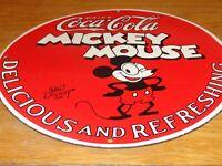 "VINTAGE 1928 MICKEY MOUSE COCA COLA 11 3/4"" PORCELAIN METAL GASOLINE OIL SIGN! A"