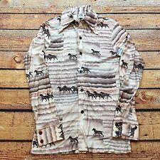 70s VTG KENNINGTON CALIFORNIA DISCO All Over HORSE Print Western Acetate S Shirt