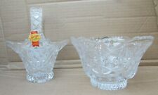 More details for bleikristall anna hutte lead crystal cut glass posy basket & vase -stickered/vgc