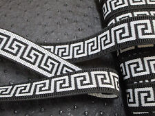 "3 yards 1"" width black & white color heavy duty greek key pattern elastic band"