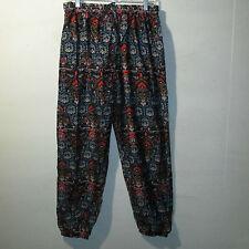 Pants XL 1X 2X Plus Banded Hem Silky Blue Black Paisley Comfortable NWT 900 HH