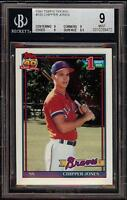 Rare 1991 Topps Tiffany #333 Chipper Jones Rookie RC BGS 9 Mint Low Population!!