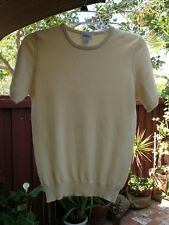 Neiman Marcus Women's 100% cashmere sweater short sleeve yellow Size S Worn Ones