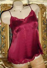 USA L Silk Cami Burgundy Merlot Red Empire Lace Trim Sandwash Stretch Silk