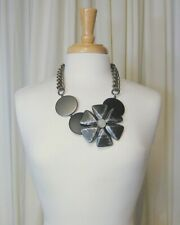 Pono by Joan Goodman Statement Necklace Plastic Flower Collar Black Gray Silver