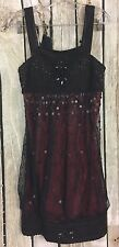 Sue Wong Nocturne SZ 8 Dress Black/Red Sequin Beaded Lace Detail Evening Formal