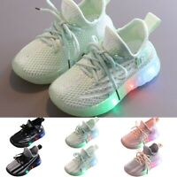 Toddler Kids Girl Boy Mesh Bling LED Light Luminous Sport Shoes Running Sneakers