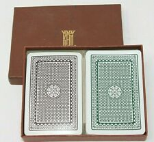 "KEM Playing Cards 1994 Double Deck Green Brown Geometric ""Atomic"" w/Box, GUC"