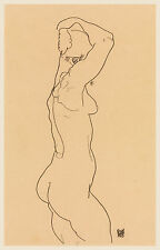 Egon Schiele Drawing Reproductions: Standing Nude, Facing Right - Fine Art Print