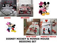 Disney MICKEY MINNIE MOUSE Double Queen Size Duvet Quilt Cover Bedding Set