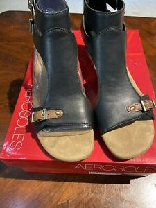 Aerosoles Womens Yet Another  Black Tan Combo Sandals Size 7 W
